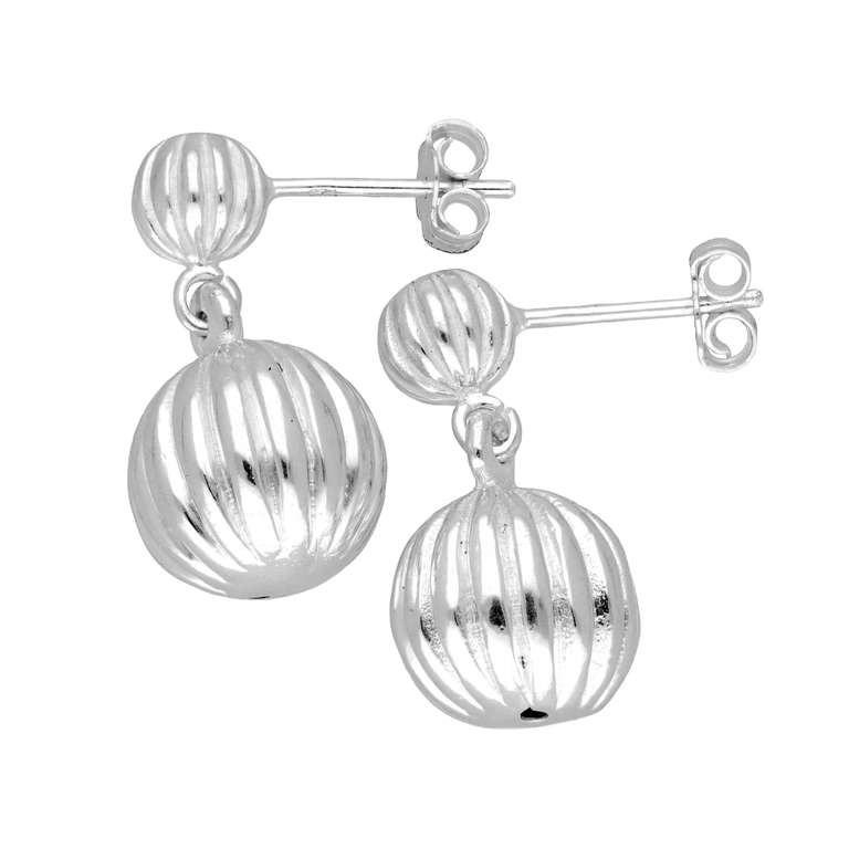 Sterling Silver Double Ball Line Drop Stud Earrings