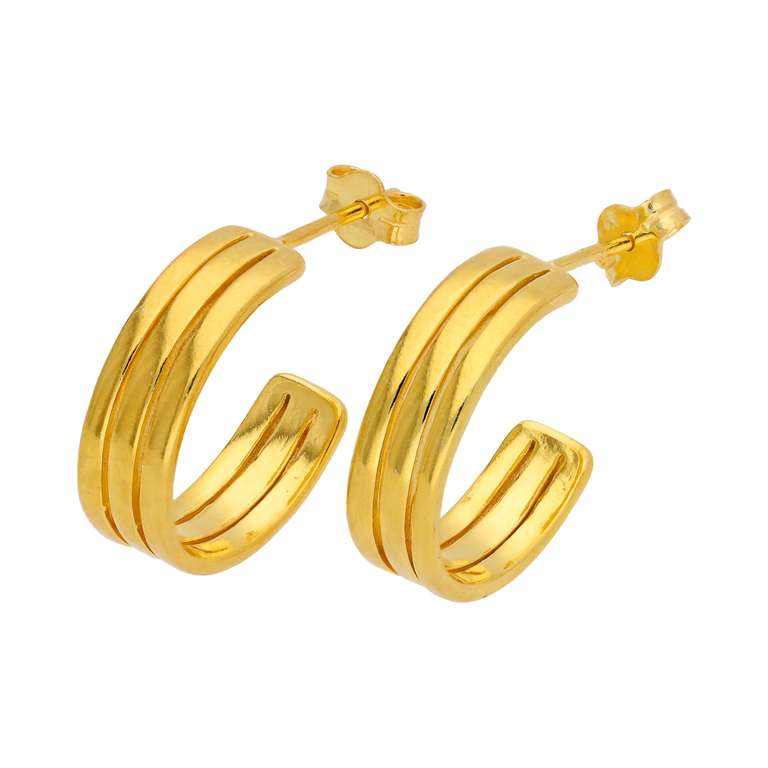 Gold Plated Sterling Silver Triple Line 16mm Stud Earrings