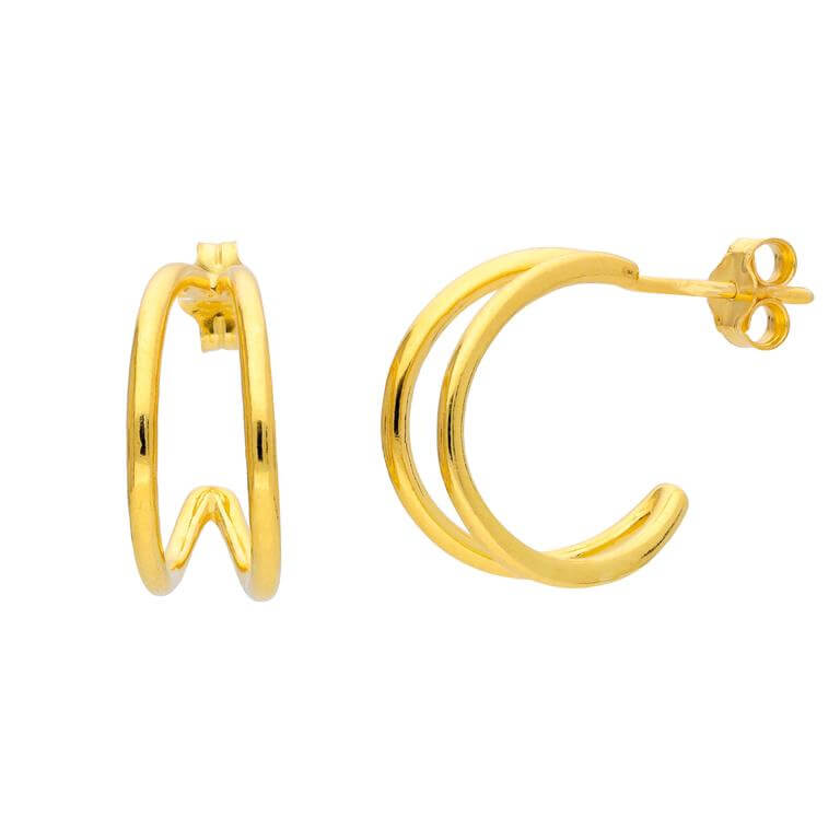 Gold Plated Sterling Silver Double Claw Hoop Stud Earrings