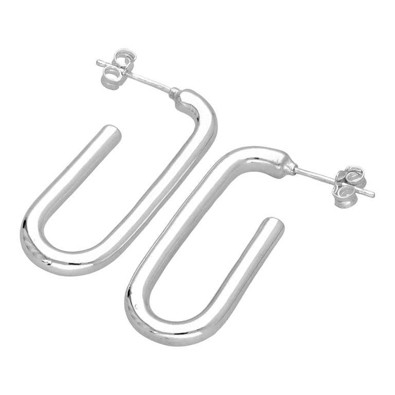 Sterling Silver Open Ovate Hoop Stud Earrings