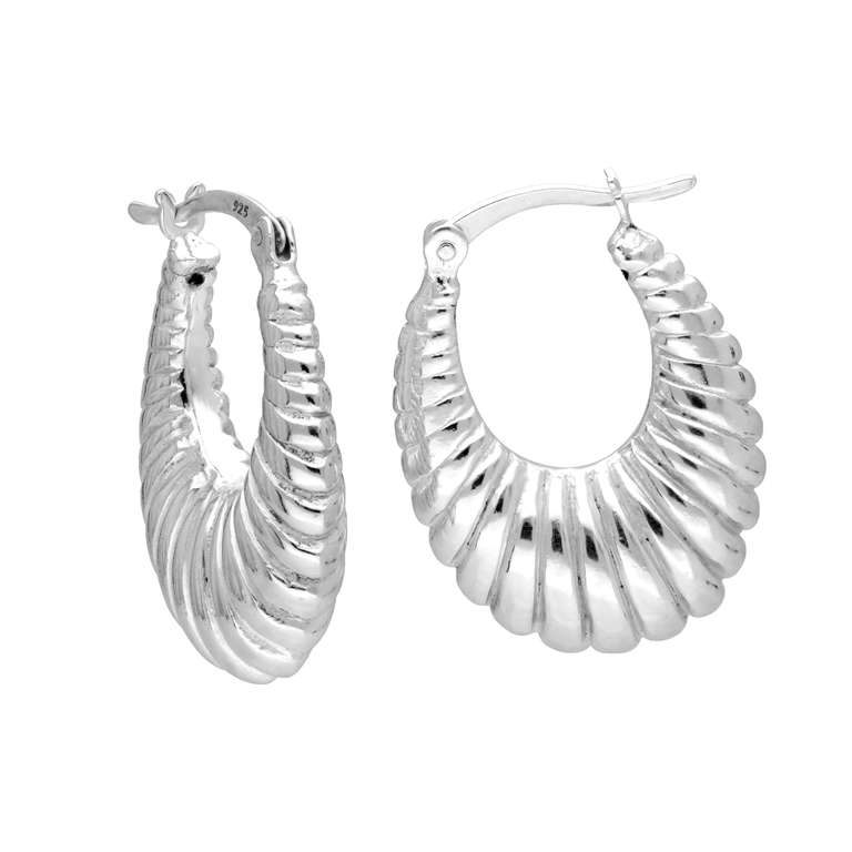 Sterling Silver Chunky Oval Line Creole Hoop Earrings