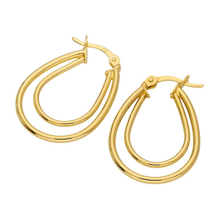 Gold Plated Sterling Silver Double Oval Hoop Earrings