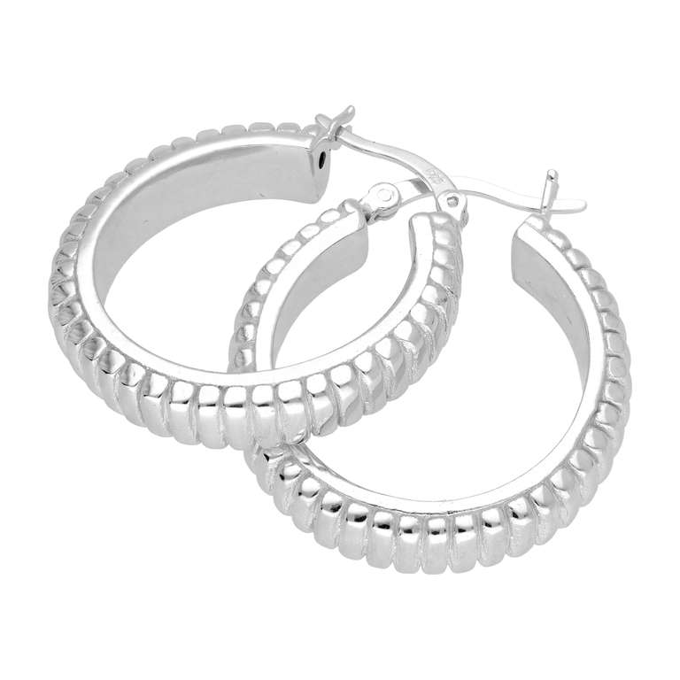 Sterling Silver 26mm Round Line Hoop Earrings