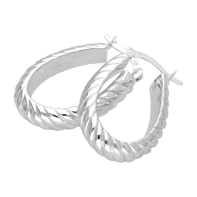 Sterling Silver Oval Twisted Line Creole Hoop Earrings