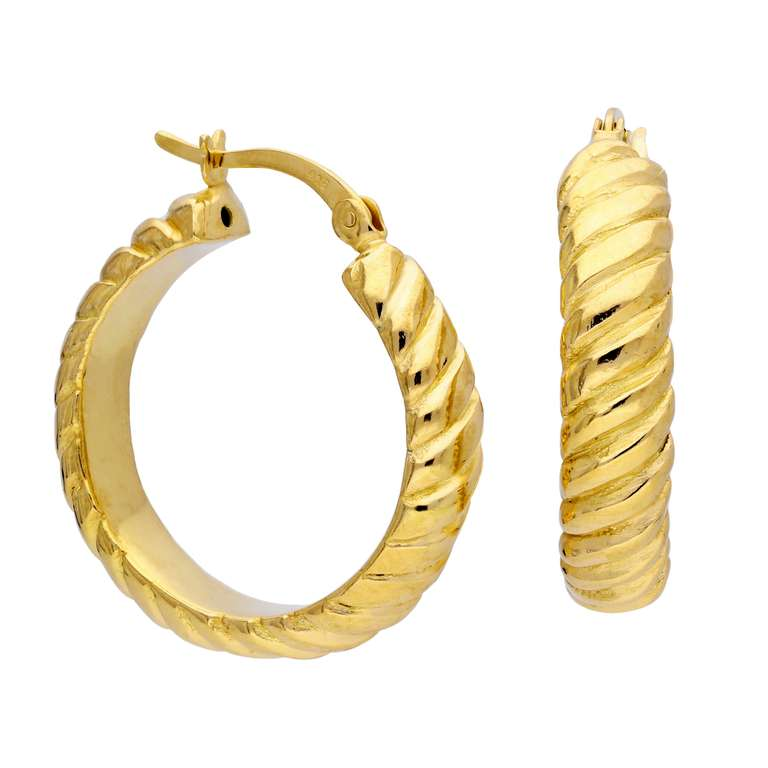 Gold Plated Sterling Silver Twisted Line 26mm Hoop Earrings