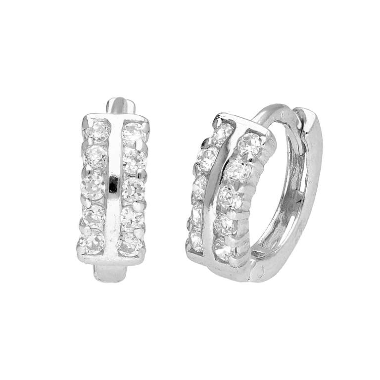 Sterling Silver CZ Double Claw 12mm Hinged Huggie Earrings