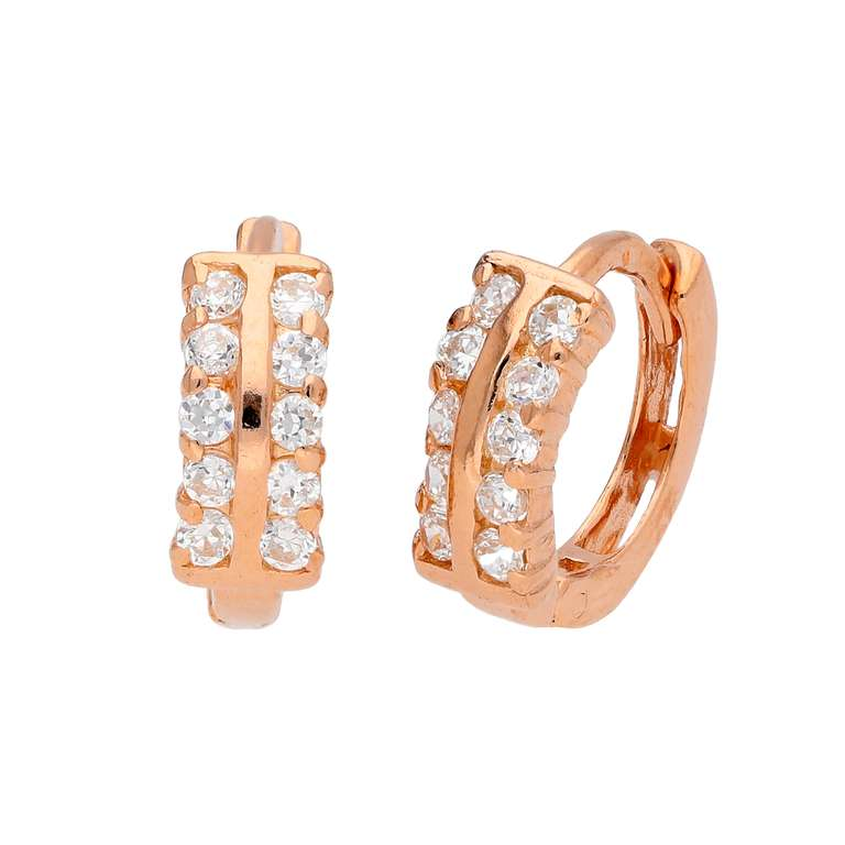 Rose Gold Plated Sterling Silver Double CZ Hinged Earrings