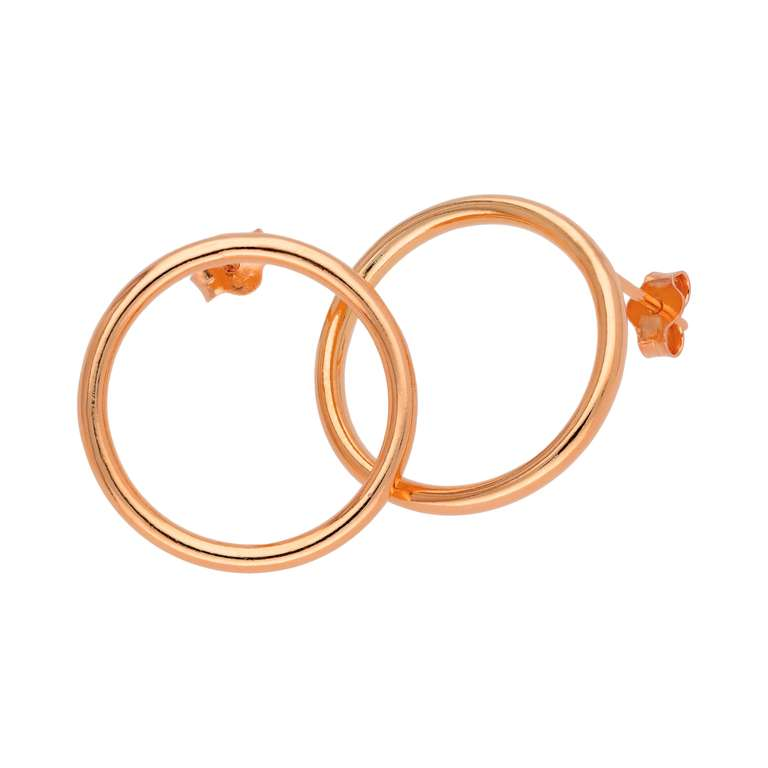 Rose Gold Plated Sterling Silver 20mm Circle Stud Earrings