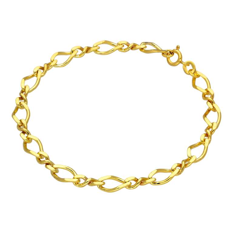 Gold Plated Sterling Silver Figaro Chain Bracelet 7 Inches