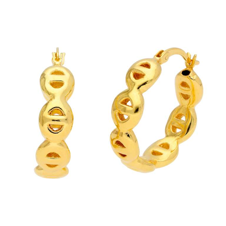 Gold Plated Sterling Silver Link Chain 22mm Hoop Earrings