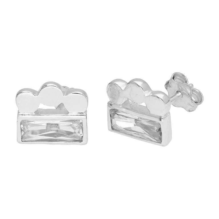 Sterling Silver Triple Bobble Bead Baguette CZ Stud Earrings