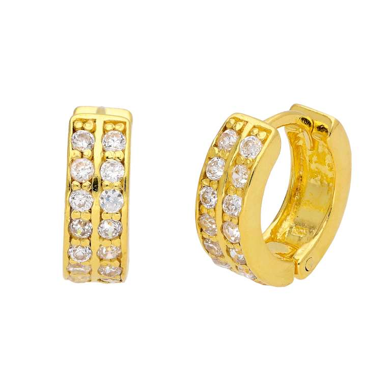 Small Gold Plated Sterling Silver CZ Huggie Hoop Earrings