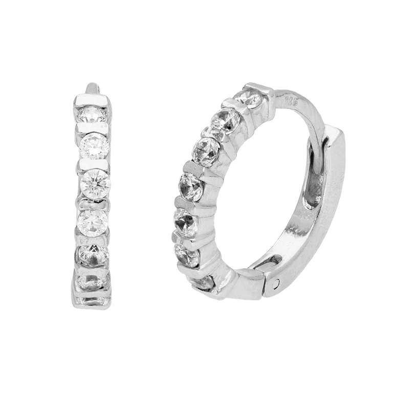 Sterling Silver CZ Bar Set Huggie 15mm Hoop Earrings
