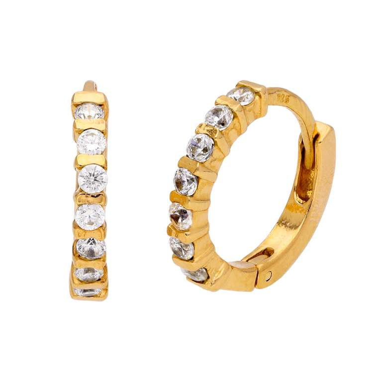 Gold Plated Sterling Silver CZ Bar Set Huggie Hoop Earrings