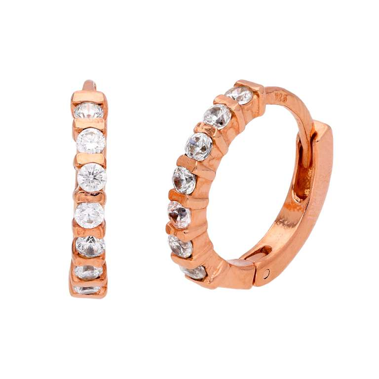 Rose Gold Plated Sterling Silver CZ Bar Set Huggie Hoop Earrings