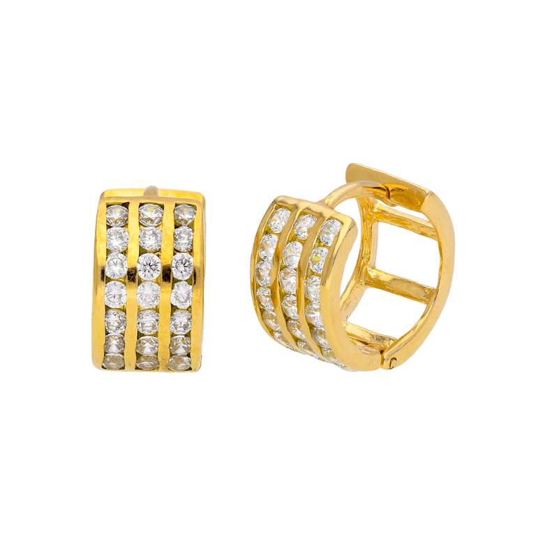 Gold Plated Sterling Silver CZ Triple Set Huggie Earrings