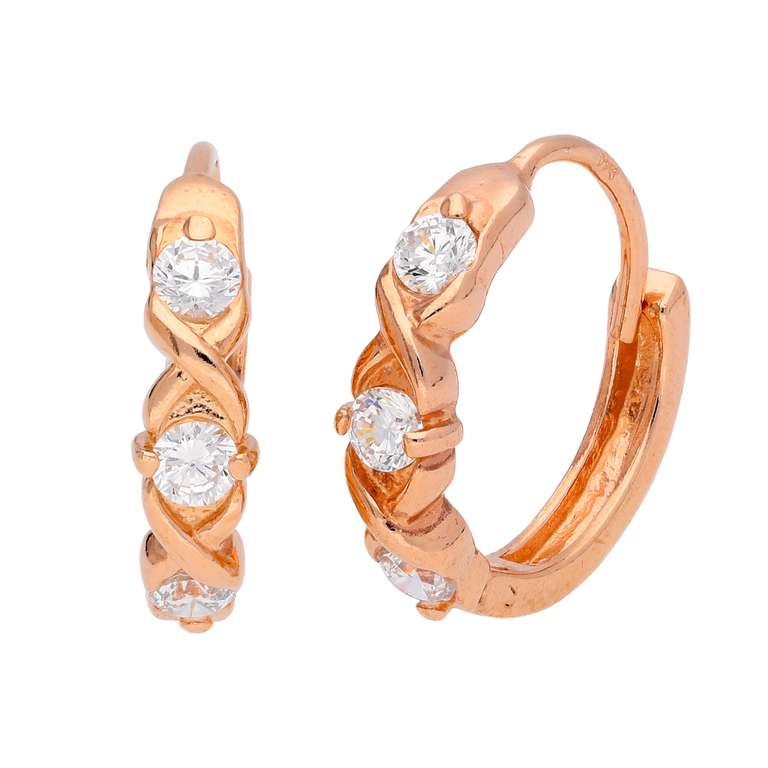 Rose Gold Plated Sterling Silver Triple CZ Huggie Earrings