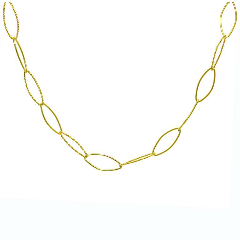 Gold Plated Sterling Silver Oval Link Necklace 14+2 Inches