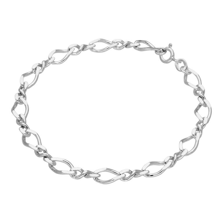 Sterling Silver Figaro Twist Link Chain Bracelet 7 Inches