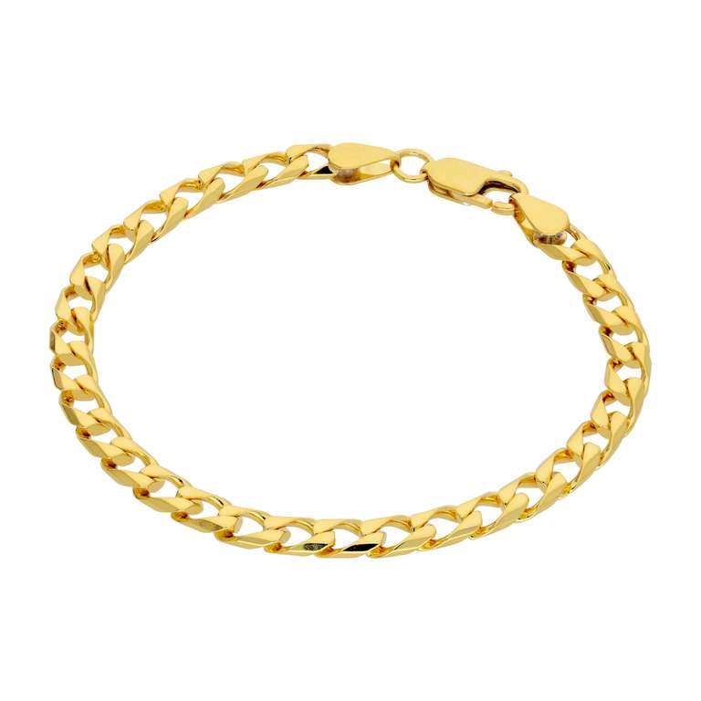 Gold Plated Sterling Silver Flat 5mm Curb Link Bracelet 7.5 Inch