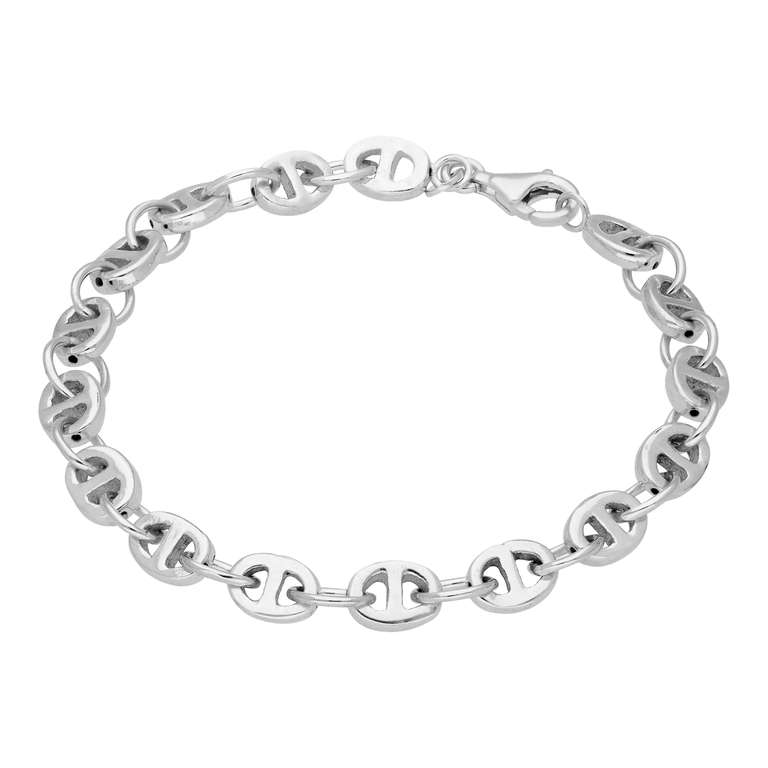 Sterling Silver Chunky Link Chain Bracelet 7 Inches
