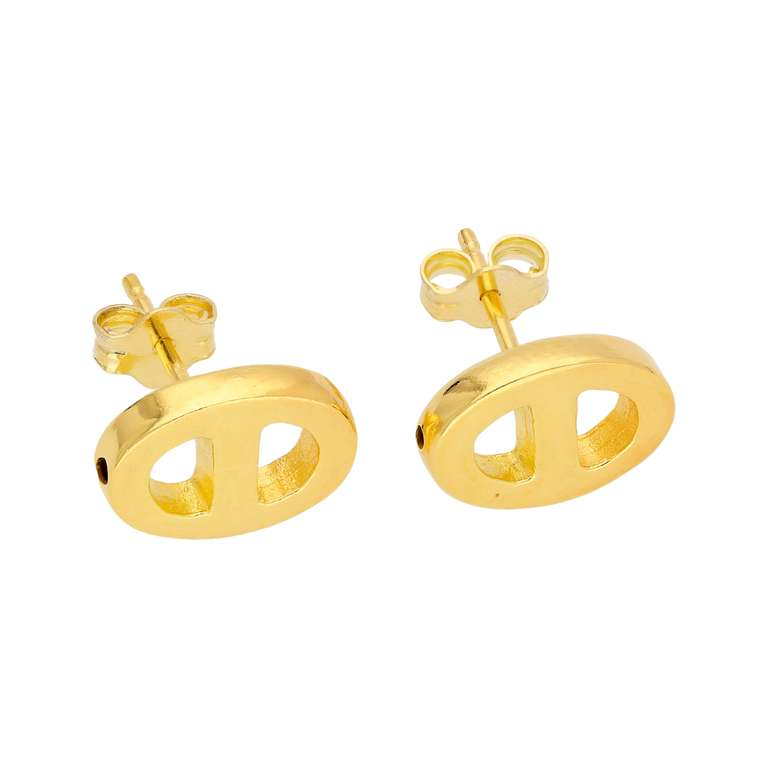 Gold Plated Sterling Silver Chunky Link Stud Earrings
