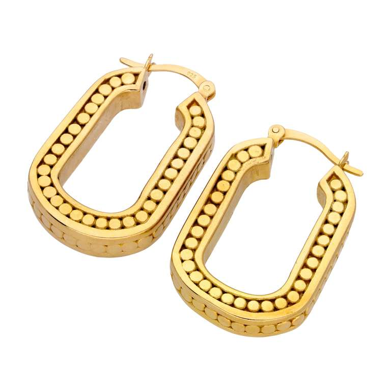 Gold Plated Sterling Silver Beaded Ovate Link Hoop Earrings