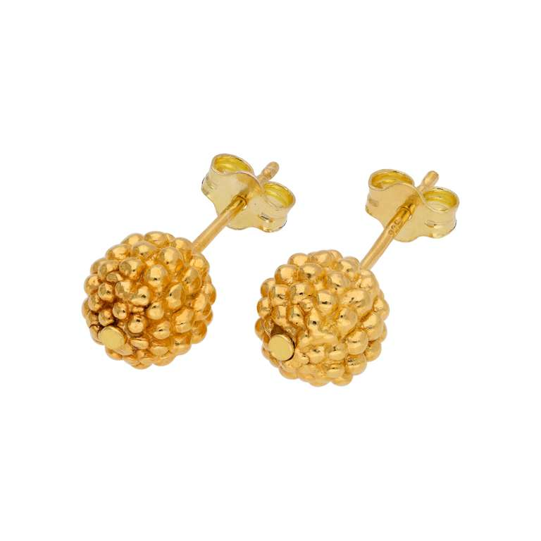 Gold Plated Sterling Silver Beaded 8mm Ball Stud Earrings