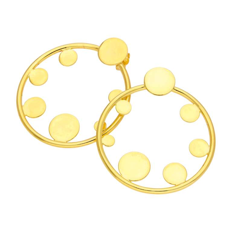 Large Gold Plated Sterling Silver Open Round Stud Earrings