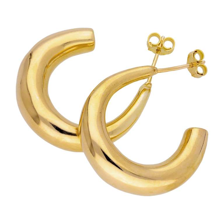 Gold Plated Sterling Silver Chunky Open Hoop Stud Earrings