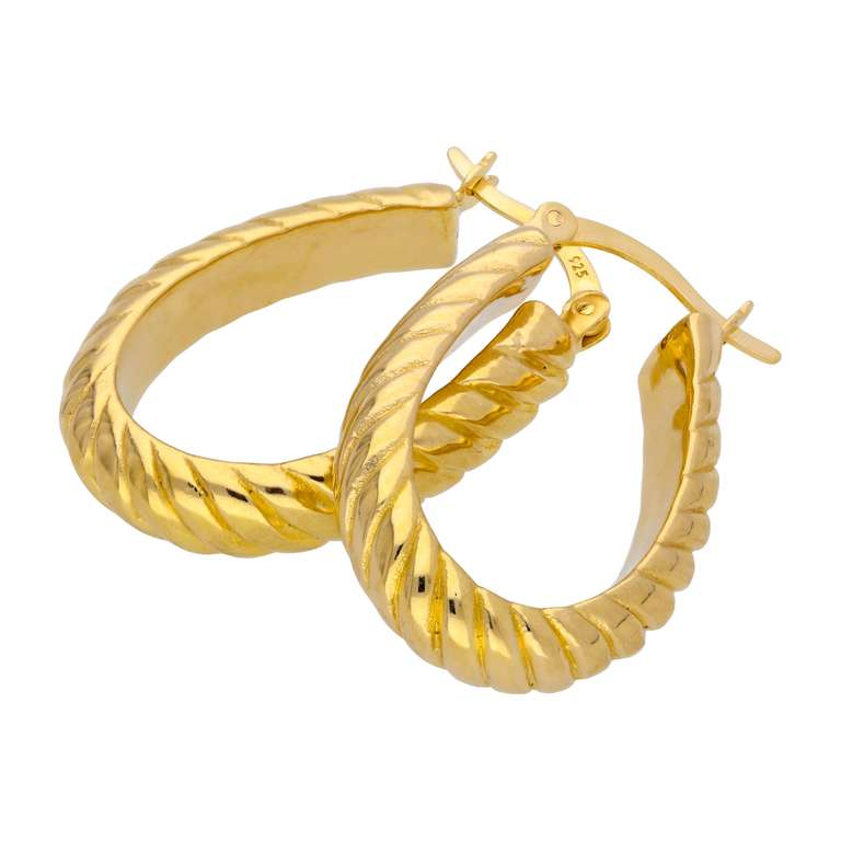 Gold Plated Sterling Silver Oval Twisted 18mm Hoop Earrings