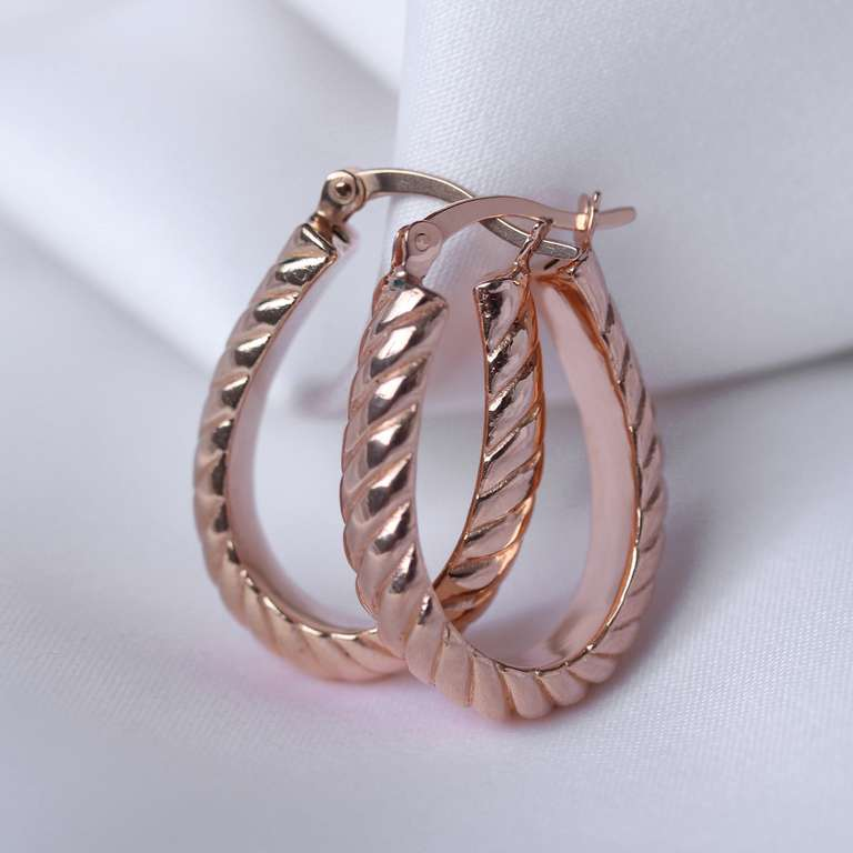 Rose Gold Plated Sterling Silver Oval Twisted 18mm Hoop Earrings