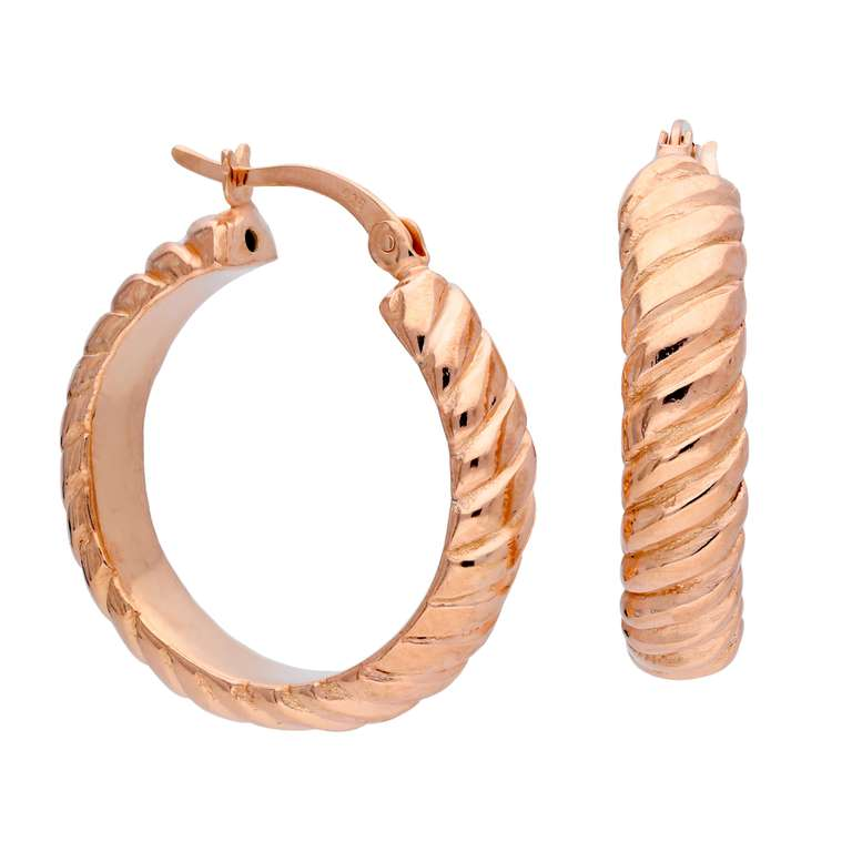 Rose Gold Plated Sterling Silver Twisted 26mm Hoop Earrings