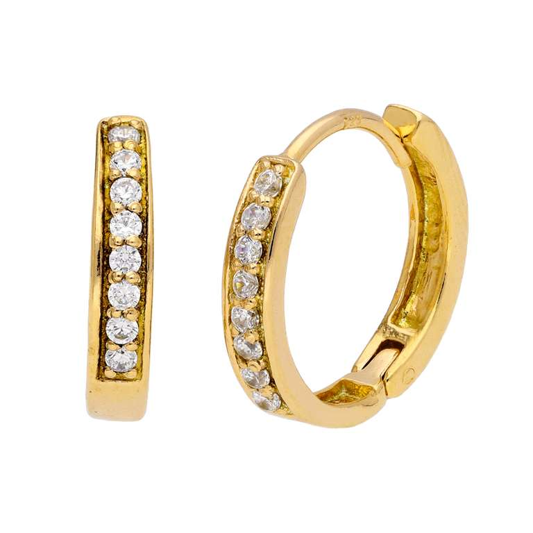 Gold Plated Sterling Silver CZ Huggie 15mm Hoop Earrings