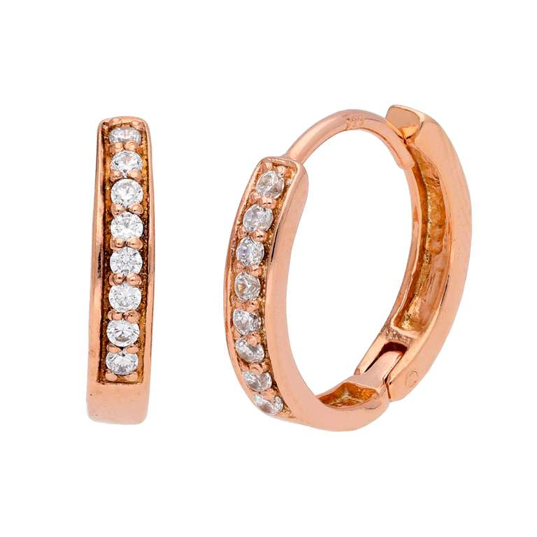 Rose Gold Plated Sterling Silver CZ Huggie 15mm Hoop Earrings