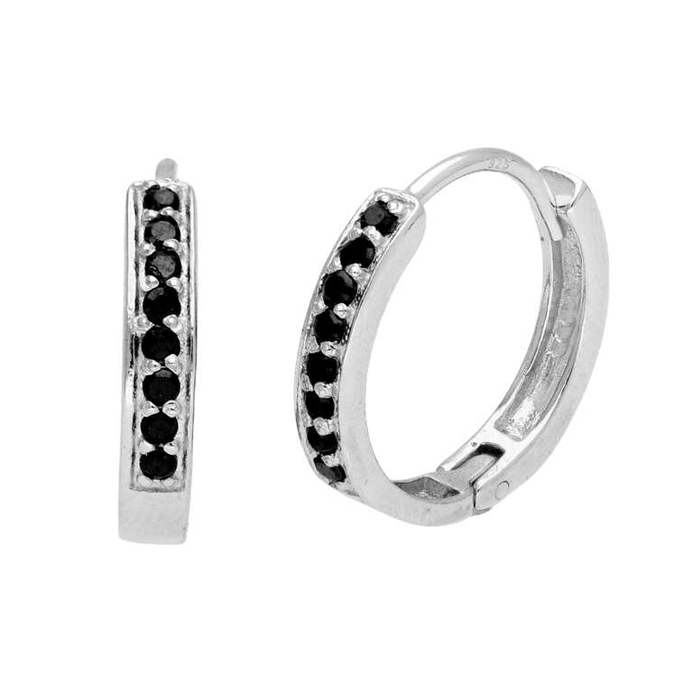 Sterling Silver Black CZ Pave Huggie 15mm Hoop Earrings