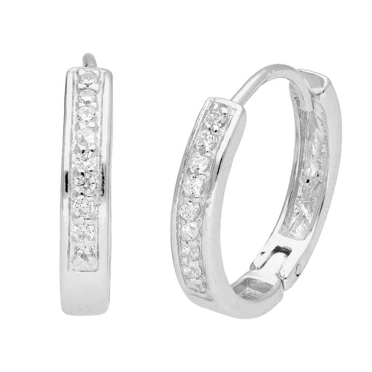 Sterling Silver CZ Pave Huggie 19mm Hoop Earrings