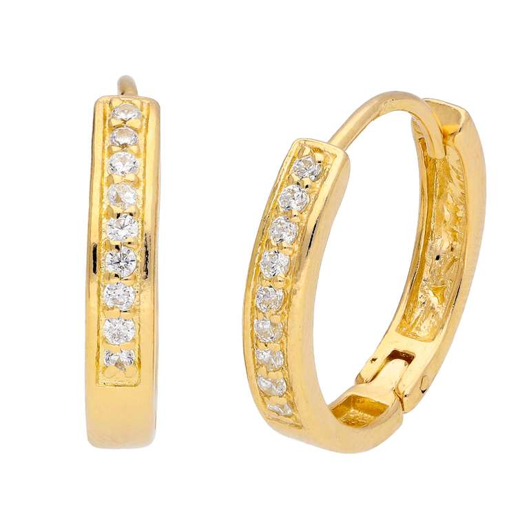 Gold Plated Sterling Silver CZ Pave Huggie 19mm Hoop Earrings