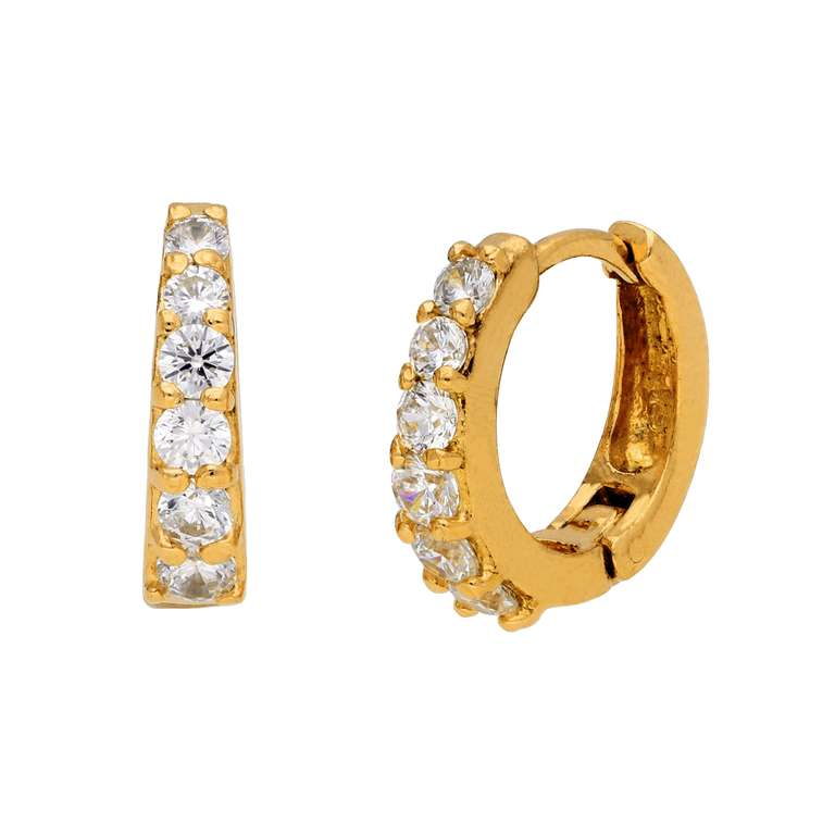 Gold Plated Sterling Silver CZ Claw Huggie 14mm Hoop Earrings