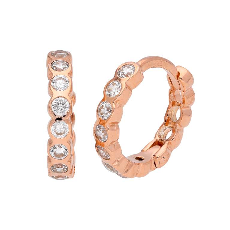 Rose Gold Plated Sterling Silver CZ Huggie 14mm Hoop Earrings