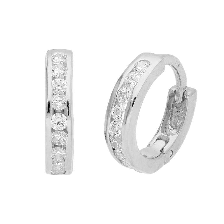 Sterling Silver CZ Channel Set Huggie 14mm Hoop Earrings