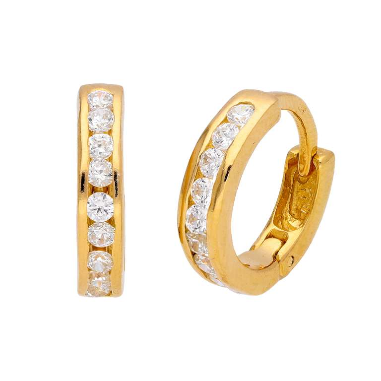 Gold Plated Sterling Silver CZ Channel Set Huggie 14mm Hoop Earrings