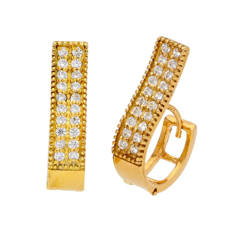 Gold Plated Sterling Silver CZ Dress Huggie Hoop Earrings