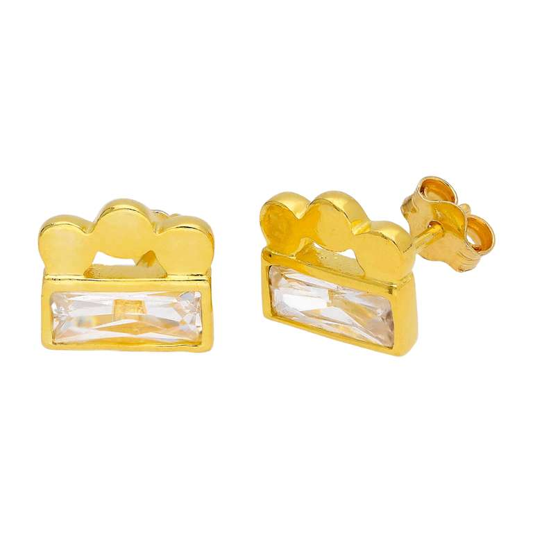 Gold Plated Sterling Silver Beaded Baguette CZ Stud Earrings