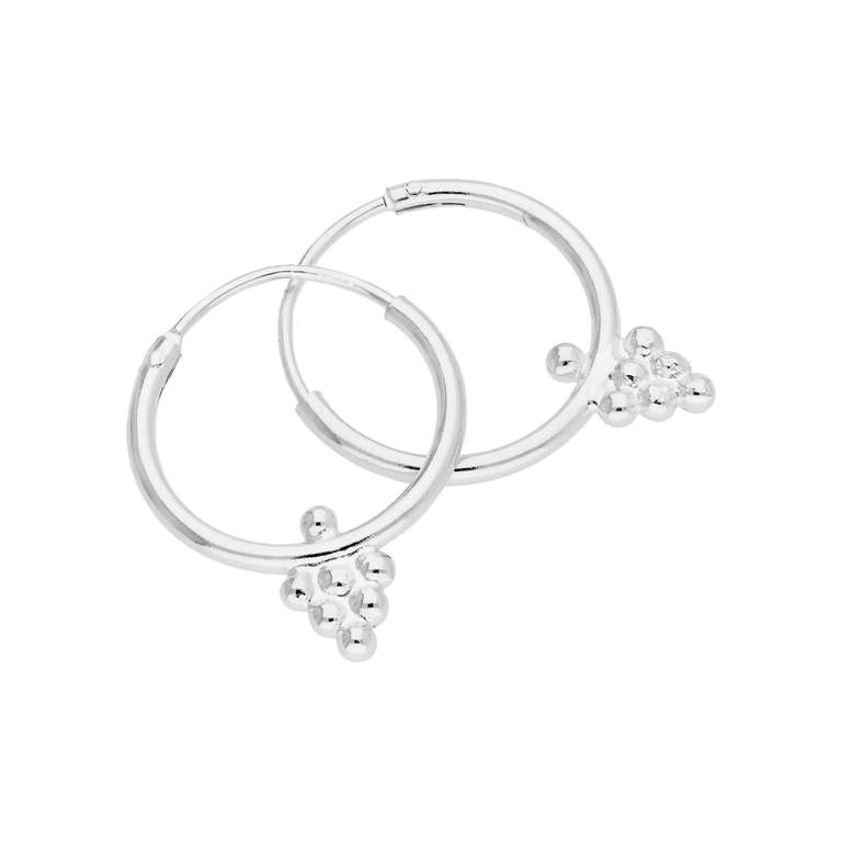 Sterling Silver Bobble Beaded Diamond 14mm Hoop Earrings
