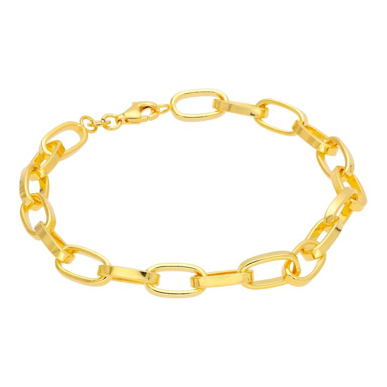 Heavy Gold Plated Sterling Silver Link Chain Bracelet 7 Inch