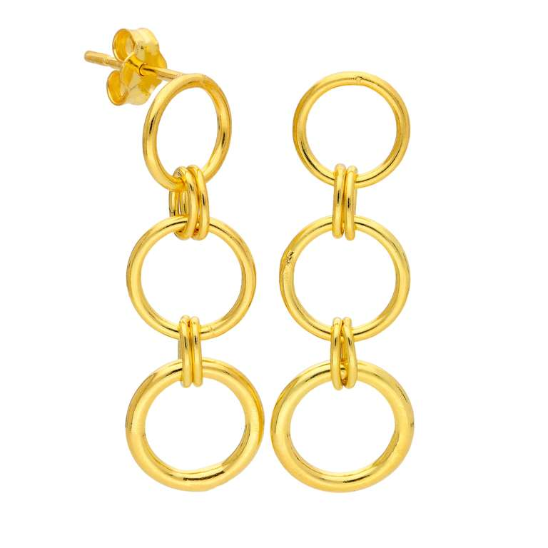 Gold Plated Sterling Silver Link Chain Stud Drop Earrings