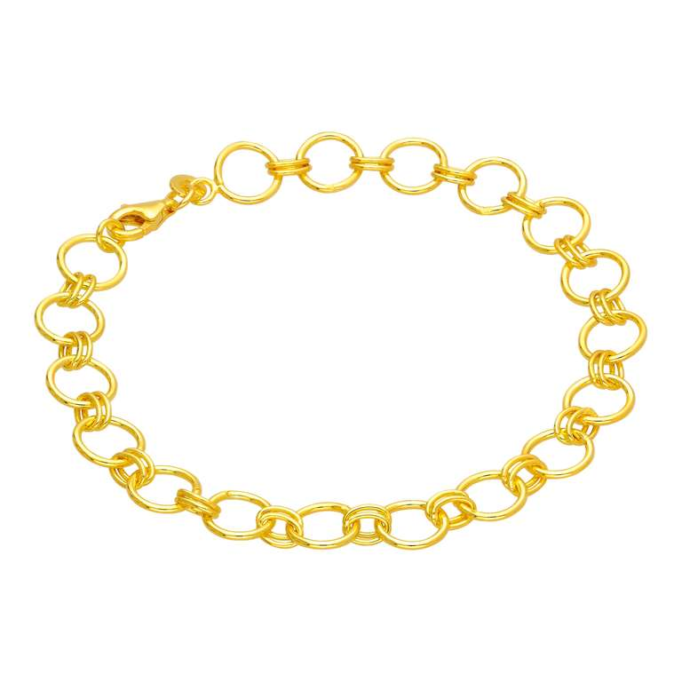 Gold Plated Sterling Silver Round Link Chain Bracelet 7 Inch