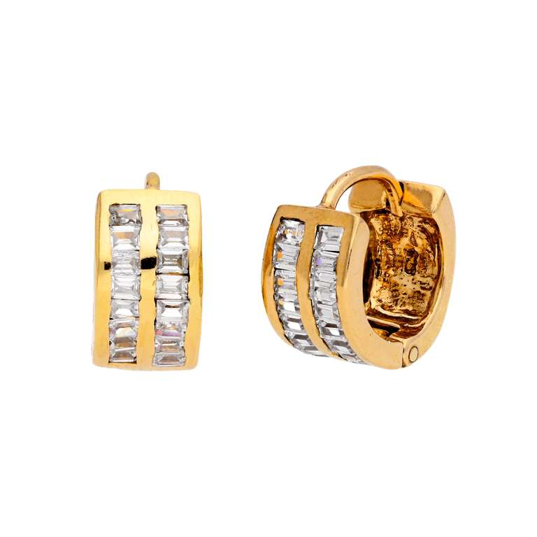 Gold Plated Sterling Silver CZ Set 13mm Huggie Hoop Earrings