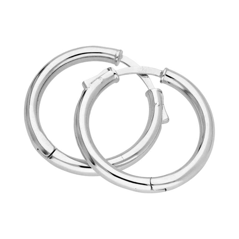 Sterling Silver Round Tube Push Button 25mm Hoop Earrings